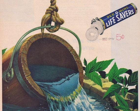 1957 Pep O Mint Life Savers 5 Cent Original Vintage Advertisement
