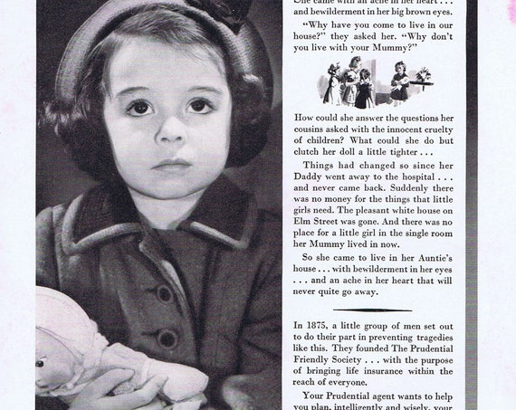 1941 Adorable Little Girl and Prudential Insurance or Hamilton Watch Train Story Original Vintage Advertisement