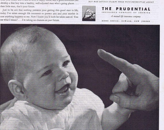 1944 Prudential Insurance Company Original Vintage Advertisement with Adorable Baby Listen, Chipper
