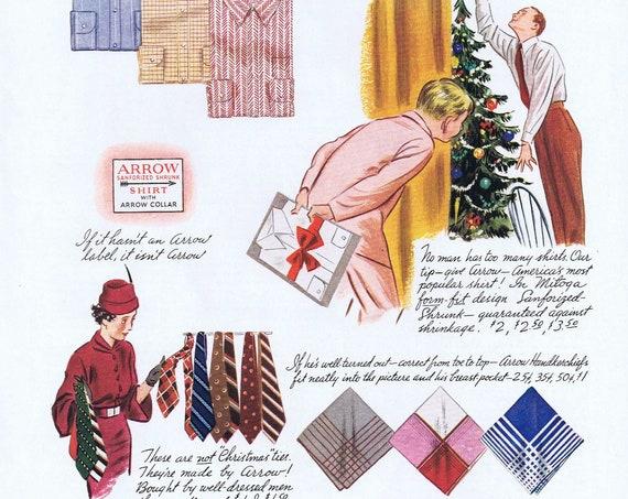 1935 Arrow Shirts and Ties for Christmas Original Vintage Advertisement or Santa Claus Cartoon Art by Sid Hoff