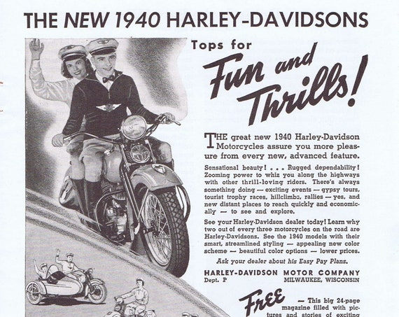 Harley Davidson World Champion Motorcycle Old 1940 Vintage Ad