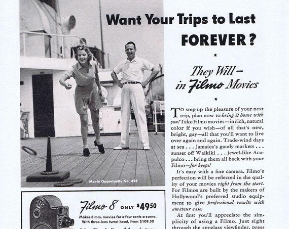 1941 Bell & Howell Filmo 8 Movie Camera Original Vintage Advertisement on Cruise Ship