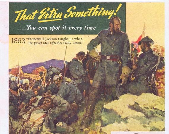 Stonewall Jackson and Civil War 1943 Coca-Cola Soda or SOS WW2 Subs Original Vintage Advertisement