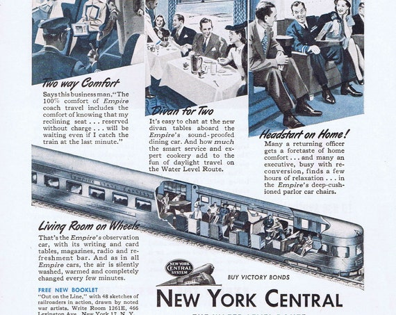 Empire State Express Railroad and New York Central WW2 War Record Old Ad