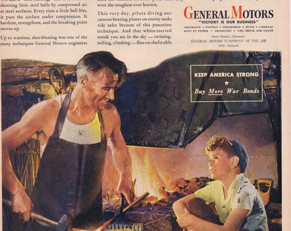 1944 WW2 Salute to Blacksmiths and Shot-Blasting by General Motors Original Vintage Advertisement Victory is Our Business