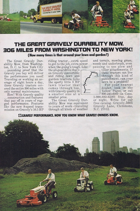 1972 Great Gravely Durability Mow or the World of Amway Original Vintage Advertisements