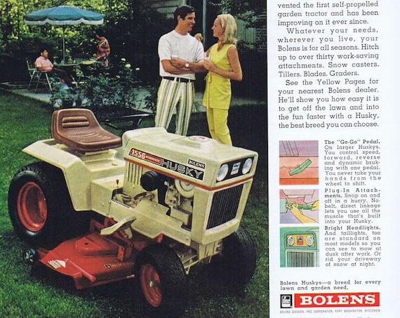 1972 Bolens Husky Tractor Lawn Mower Original Vintage Advertisement