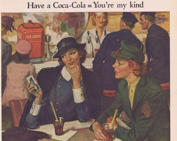 1944 Coca-Cola WW2 Women Allied Soldiers Large Original Vintage Global High-Sign Advertisement Great Vintage Art