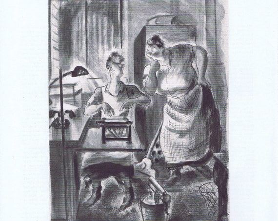 1935 Do I Resign or Quit Vintage Magazine Cartoon Art Drawing by D. McKoy