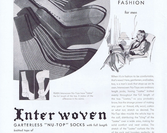 """1935 Interwoven Garter less """"Nu-Top Men's Socks with Lastex or Seagram's Crown Whiskies Original Vintage Advertisements"""