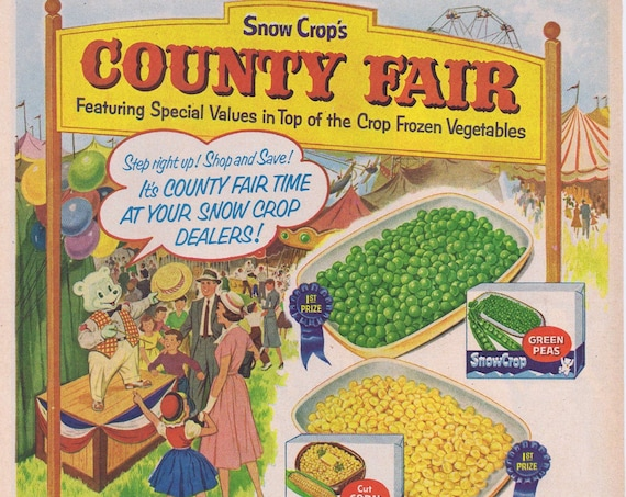 1957 Snow Crop's County Fair of Frozen Vegetables or Du Pont Lucite Lacquer Paint with Beautiful Ladies