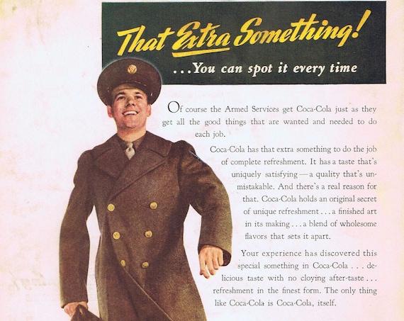 1943 WWII Soldier and Coca-Cola Soda or Lockheed Fighter Planes Original Vintage Advertisement