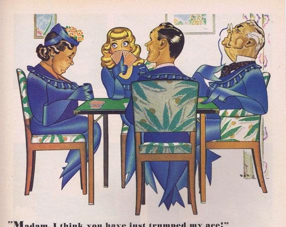 1944 Pabst Blue Ribbon Beer Original Vintage Advertisement Blue Ribbon Town and Bridge Players