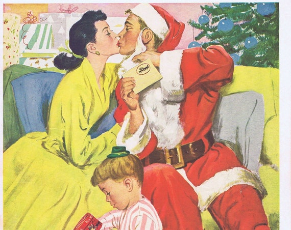1953 Dobbs Men's Hats and Daddy Santa Claus Kissing Mommy Original Vintage Christmas Advertisement with Cute Art