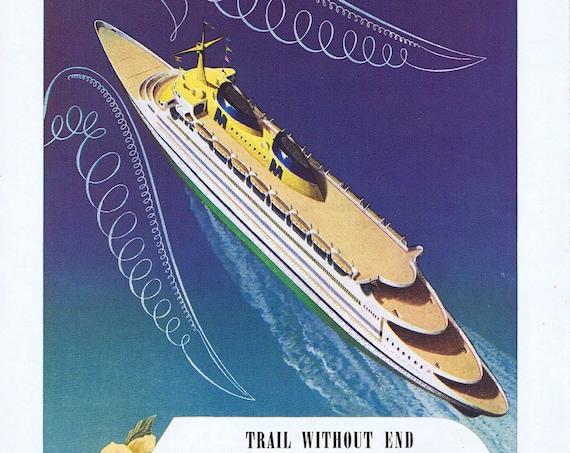 1945 Matson Cruise Line Ships or Milwaukee Road Original Vintage Advertisement