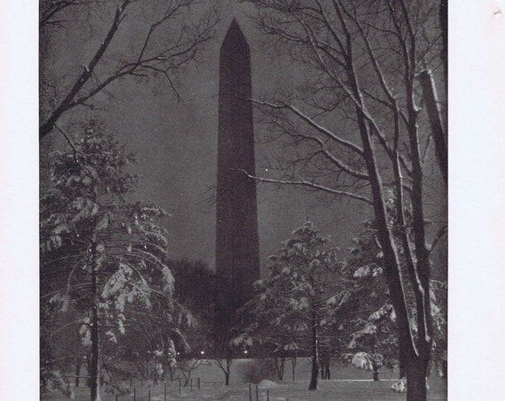 The Washington Monument at Night 1915 Magazine Drawing or South Bend Chesterfield Watch Corona Typewriter Original Vintage Advertisement