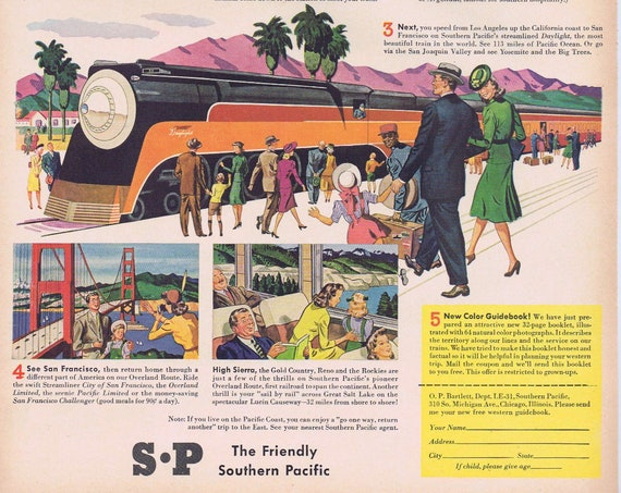 1941 Southern Pacific Railways to California or Sunsweet Prunes Original Vintage Advertisement