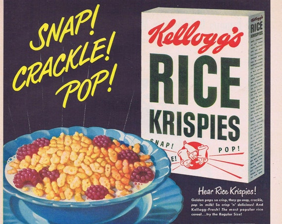 1949 Kellogg's Rice Krispies Cereal Mother Knows Best Original Vintage Advertisement with Snap, Crackle and Pop Cartoon Characters