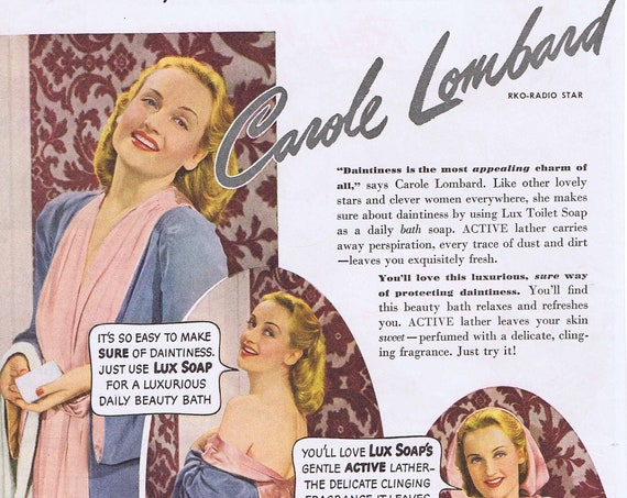 1940 Beautiful Carole Lombard and Lux Toilet Soap or Hellman's Real Mayonnaise with Melon Shell Salad Recipe Original Vintage Advertisement