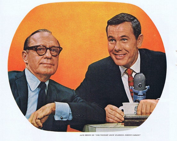 1965 Jack Benny and Johnny Carson for RCA Television or Iberia Airlines of Spain Original Vintage Advertisement