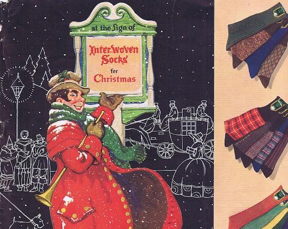 1935 Interwoven Socks for Christmas or Chuck Meehan Watching Football Camel Cigarettes Original Vintage Advertisement