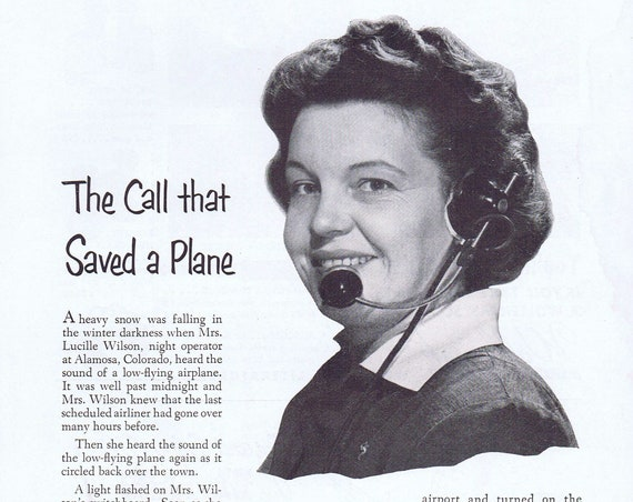 1952 The Call that Saved a Plane Original Vintage Advertisement