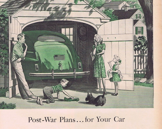 1943 WW2 Post-War Plans for Your Car Original Vintage Advertisement by Quaker State Motor Oil