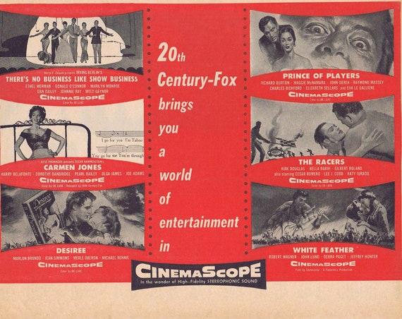20th Century-Fox 1954-1955 Cinemascope 6 Movies Vintage Movie Ad There's No Business Like Show Business, Carmen Jones 4 more Classic Stars
