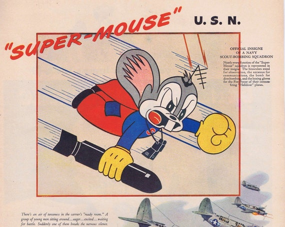 1944 WW2 Super-Mouse Scout-Bombing Squadron or General Electric Mazda Lamps Original Vintage Advertisement