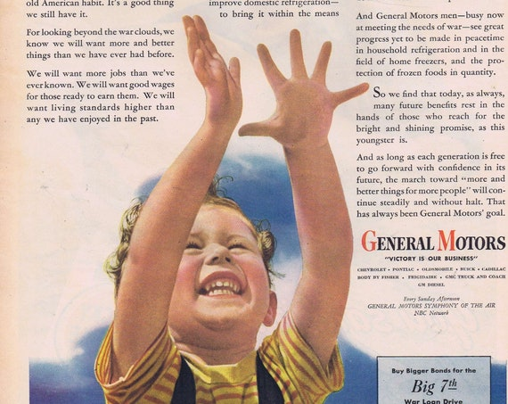 1945 WW2 General Motors Our Future is in His Hands or Lucky Strike Tobacco Farmer Original Vintage Advertisement