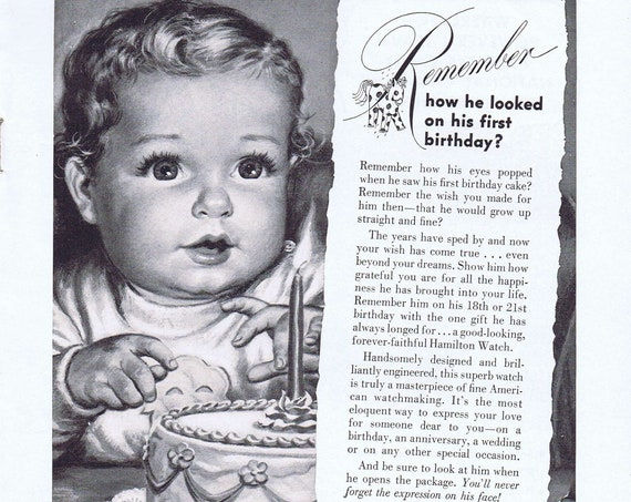Cute Baby and Hamilton Watches Old 1949 Advertisement