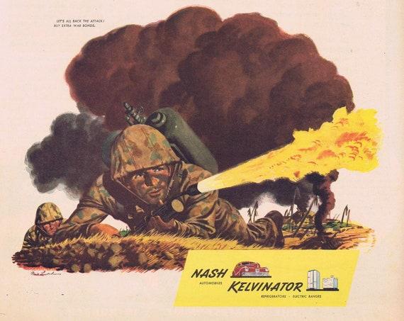 1944 WW2 Marine Combat Soldier Original Advertisement by Nash Kelvinator Very Nice Vintage Art Drawing