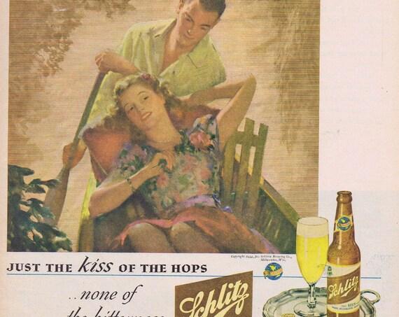 1944 Schlitz Beer Mellow as a Romantic Moonlight Rowboat Ride Original Vintage Advertisement