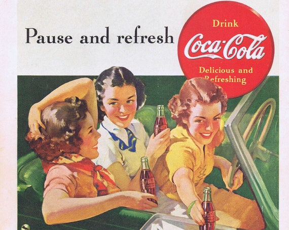 1939 Coca-Cola Soda and Girls in Car or Caribbean Cruise Vacation Original Vintage Advertisement