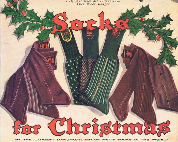 1939 Inter Woven Men's Socks for Christmas Original Vintage Advertisement by Interwoven