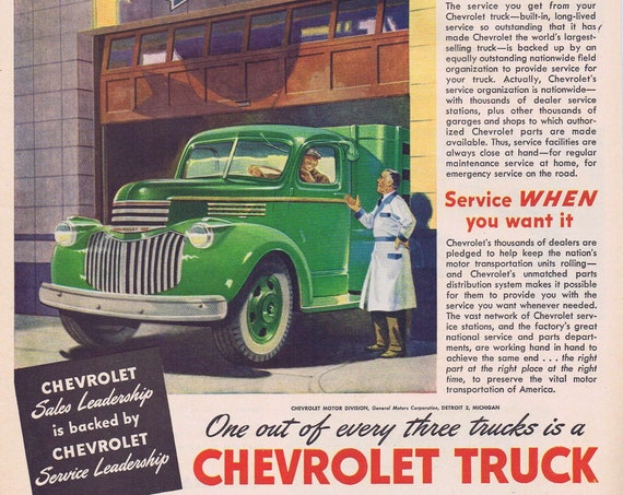1944 WW2 Era Chevrolet Trucks and Service or General Electric Dishwashers and Disposals Original Vintage Advertisement