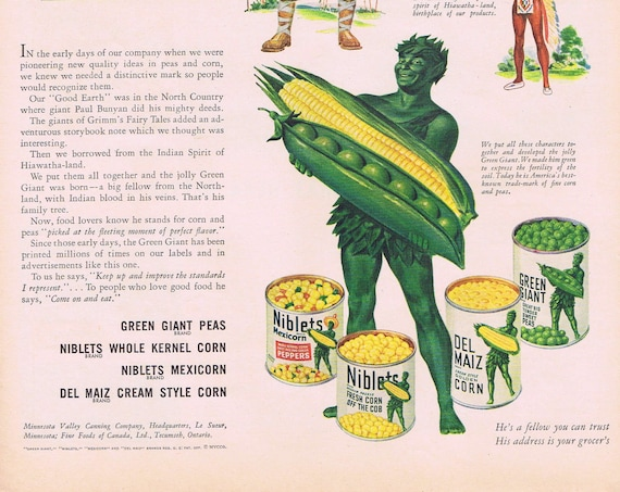 1946 How the Jolly Green Giant was Born or Sonotone Hearing Aids Original Vintage Advertisement