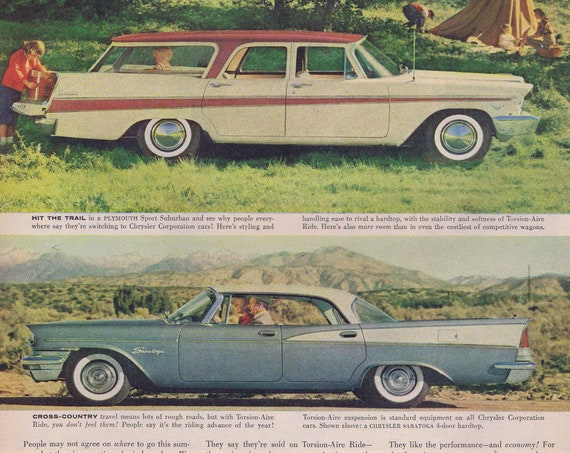 1957 Plymouth Sport Suburban Wagon and Chrysler Saratoga Hardtop Vintage Ad or Queen Frederika and King Paul of Greece Big Magazine Picture