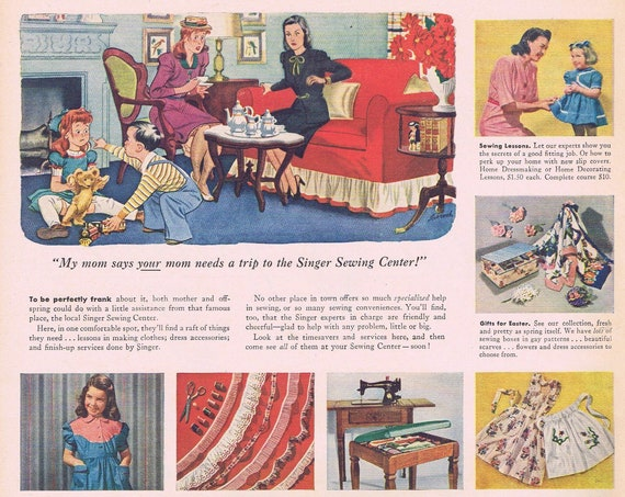 1946 Singer Sewing Centers and Sewing Machines or Rum Carioca Puerto Rican Rum Vintage Advertisement