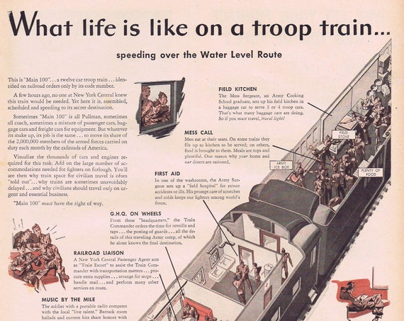 1943 WW2 Life on a Troop Train Main 100 Railway Vintage Advertisement Featuring Unique See-Through of 12 Train Cars