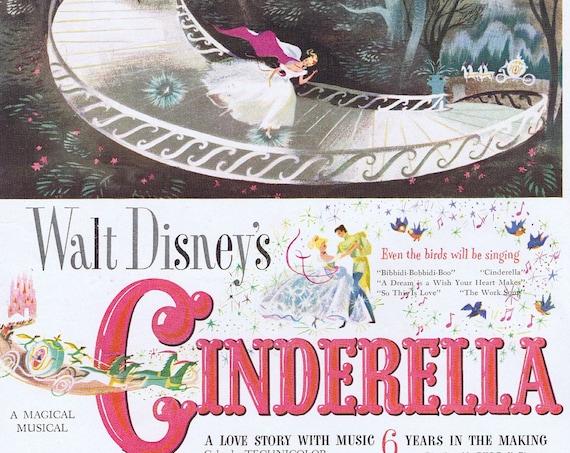 Walt Disney's Cinderella 1950 Original Vintage Movie Advertisement Beautiful Art
