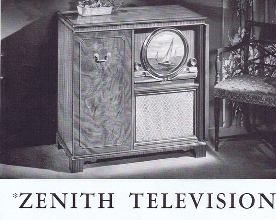 Old Zenith Television and Twin Cobra Record Player 1949 Ad