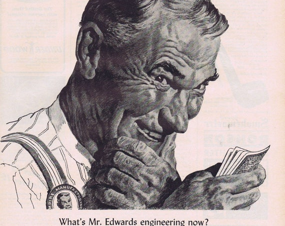 1943 Bicycle and Congress Playing Cards Original Vintage Advertisement with Plant Engineer Mr. Edwards