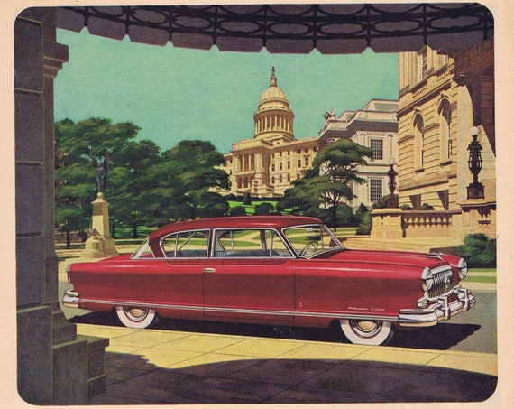 1952 Nash Golden Airflyte Ambassador Styled by Pinin Farina Original Vintage Automobile Advertisement What a Car