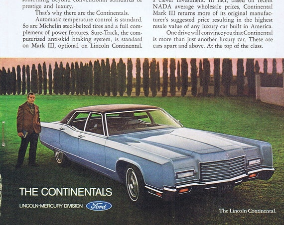 1971 Lincoln Continental and Continental Mark III Original Vintage Advertisement with Nice Photos