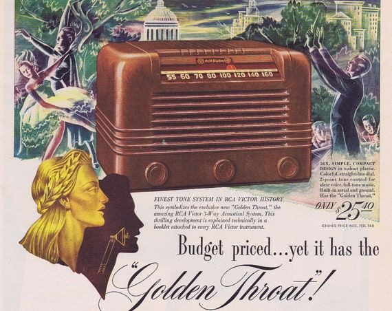 "1946 RCA Victor ""Golden Throat"" Radio Original Vintage Advertisement Finest Tone System in RCA Victory History"