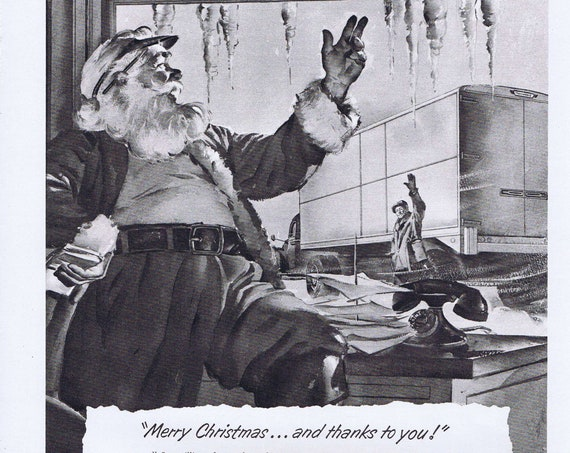 1951 Merry Christmas and Santa Claus Original Vintage Ad by Trailmobile Trucking and Salute to Korean War and Kansas City Great Flood Effort