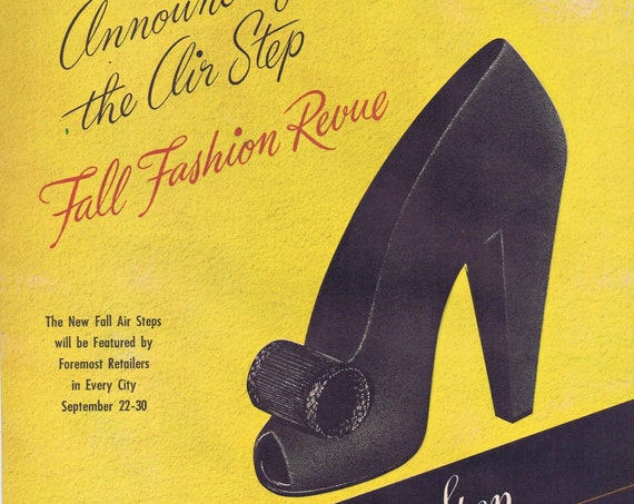 1944 Air Step Women's Shoes Fall Fashion Revue or Westinghouse Electric Home Appliances Original Vintage Advertisement