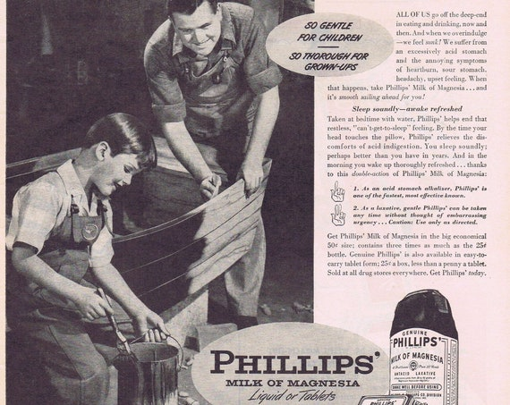 1946 Phillips' Milk of Magnesia with Father and Son Working on Boat or Dr. West's Miracle Toothpaste Original Vintage Advertisement