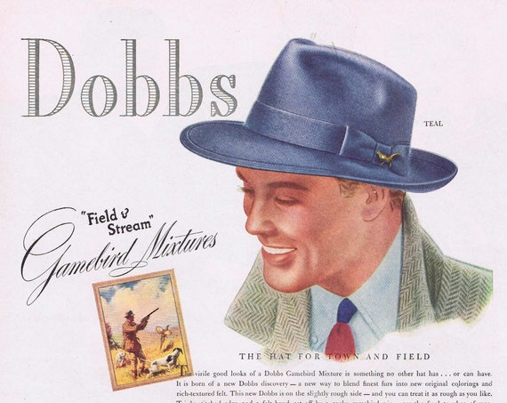 1939 Dobbs Field & Stream Game Bird Mixture Men's Hats or New Mimeograph 92 Duplicator Machine Original Vintage Advertisements